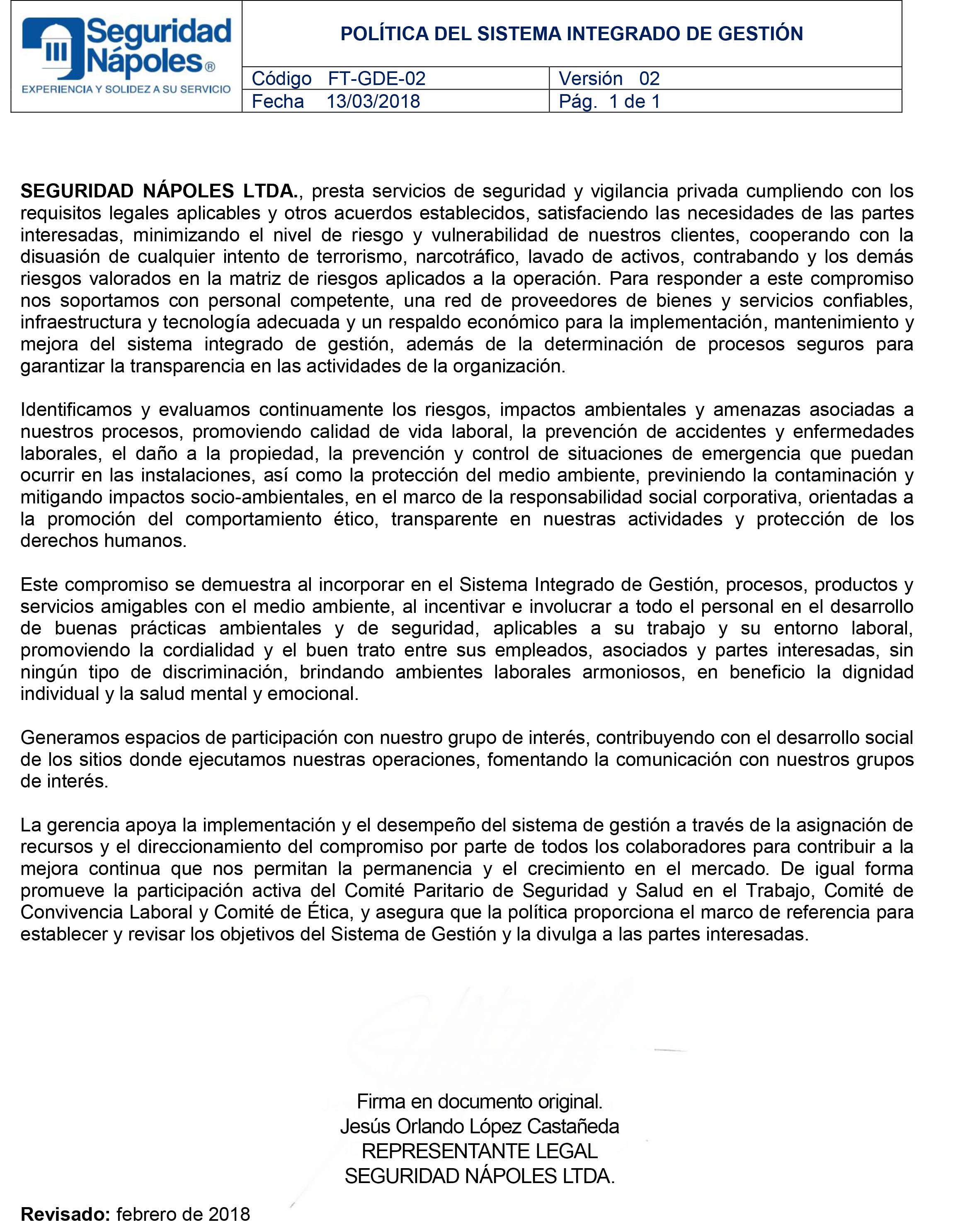 FT-GDE-02 POLÍTICA DEL SISTEMA INTEGRADO DE GESTIÓN V2