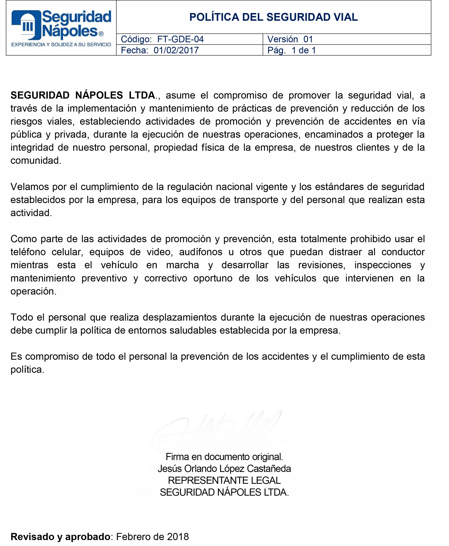 FT-GDE-04 POLÍTICA SEGURIDAD VIAL