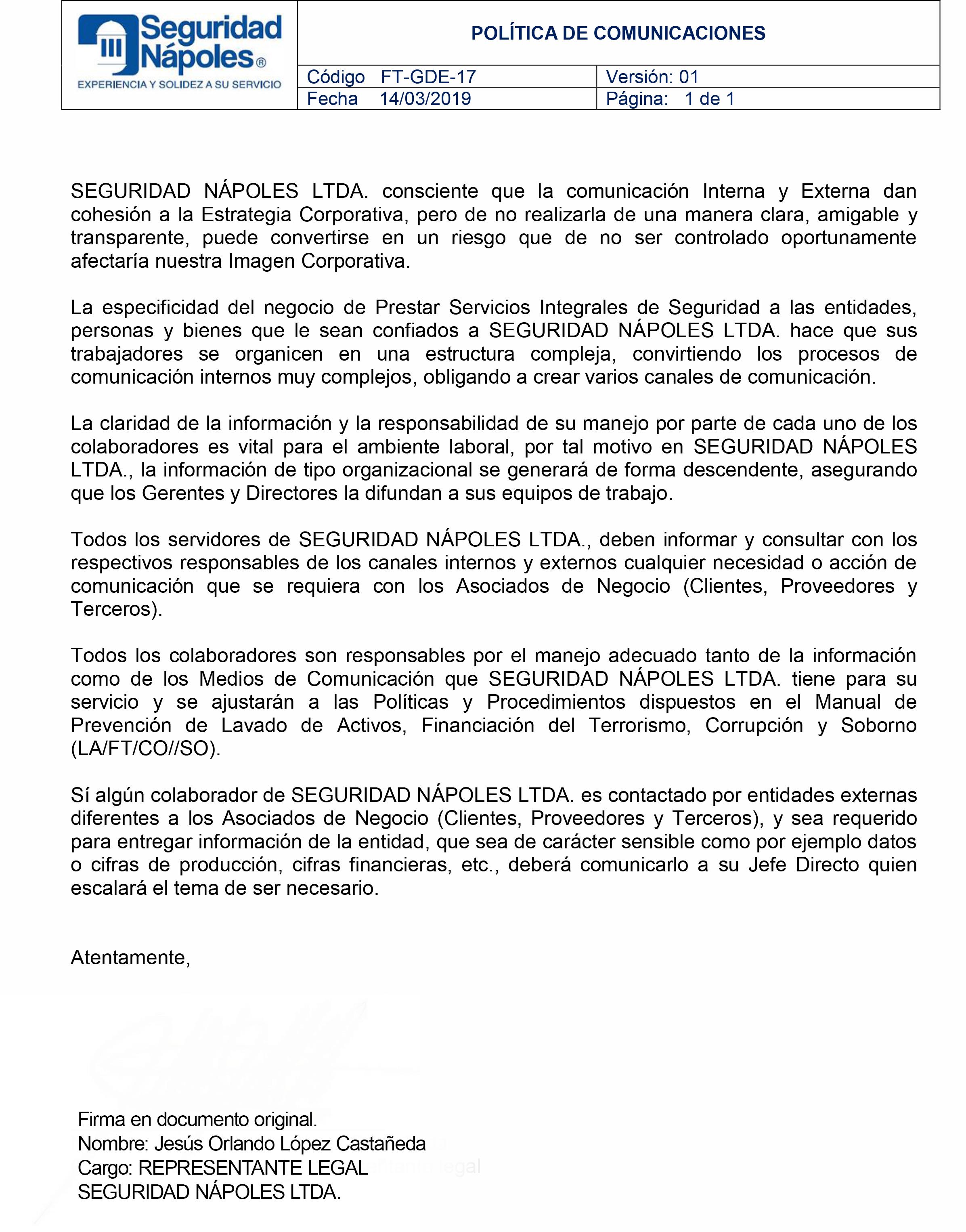 FT-GDE-17 POLÍTICA COMUNICACIONES