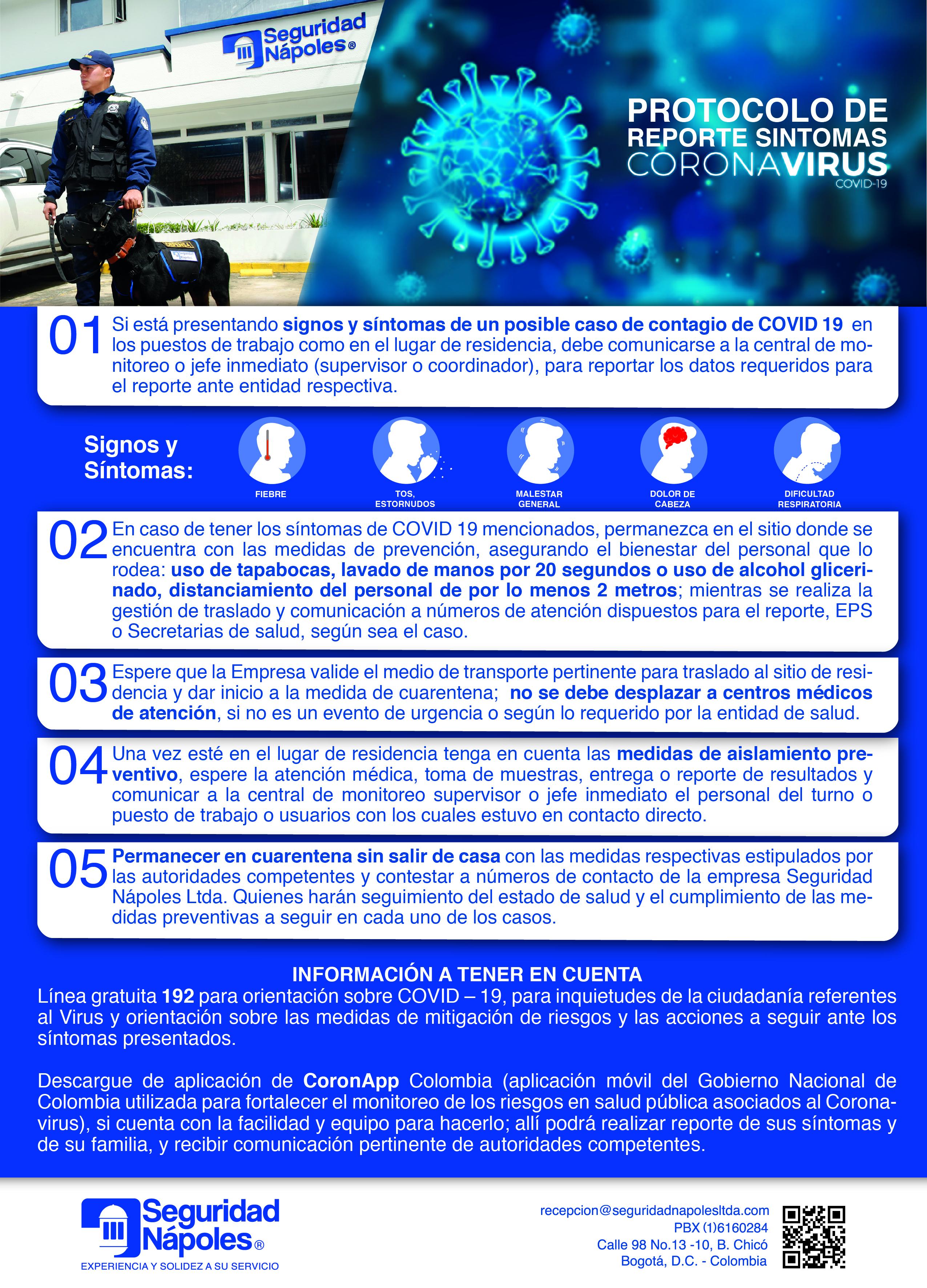 Protocolo de reporte síntomas coronavirus covid-19.