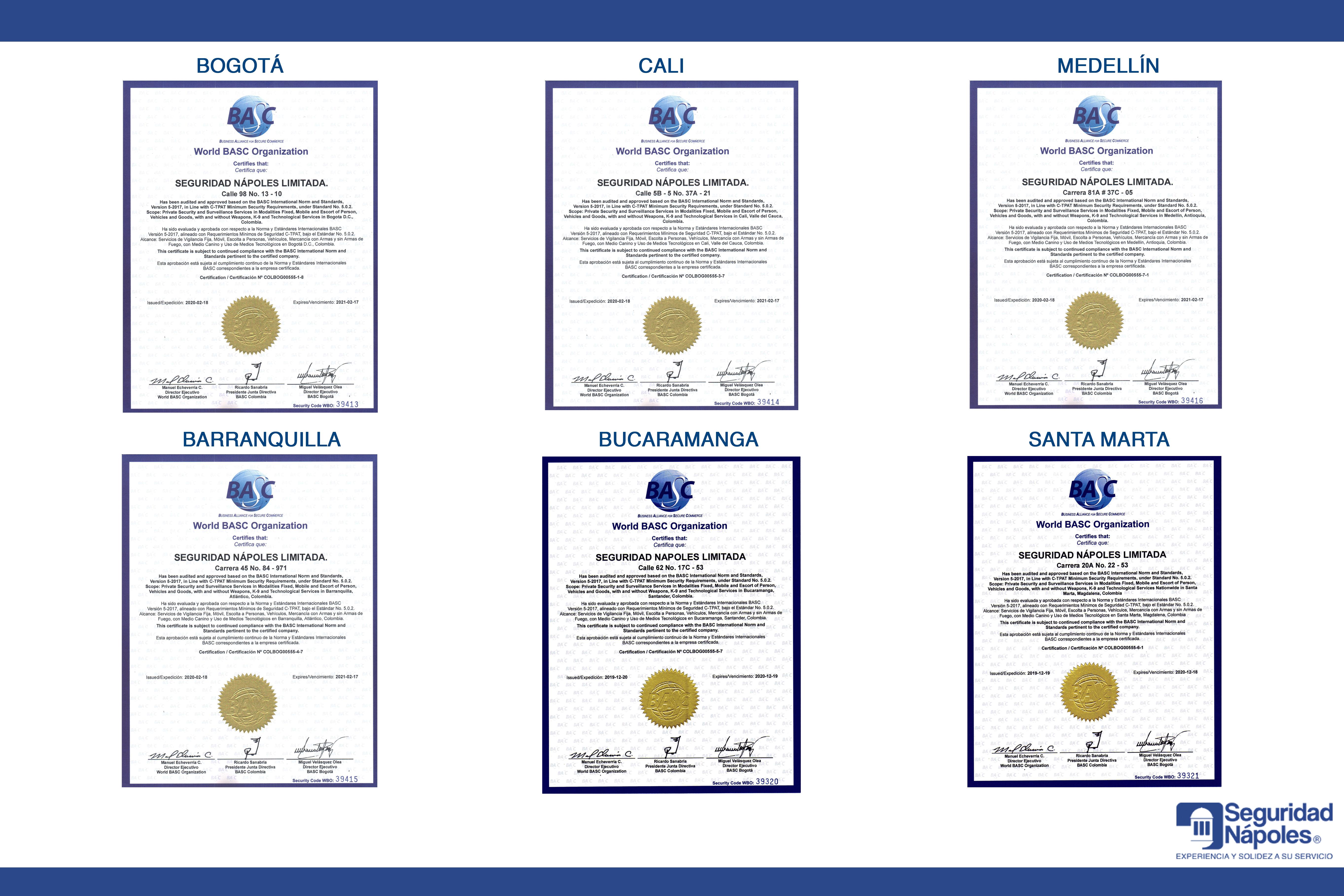 WORLD BASC ORGANIZATION – BASC Bogotá, realizó auditoría de recertificación externa, en diferentes ciudades.
