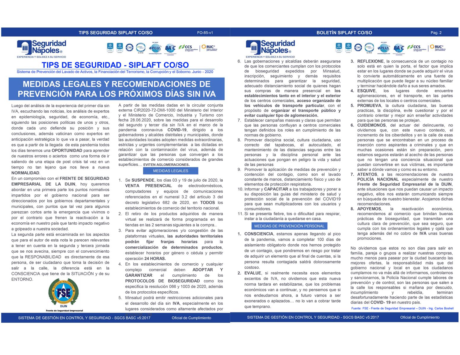 MEDIDAS LEGALES Y RECOMENDACIONES DE PREVENCIÓN PARA LOS PRÓXIMOS DÍAS SIN IVA.